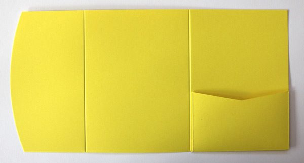 Yellow A6 pocketfold envelope