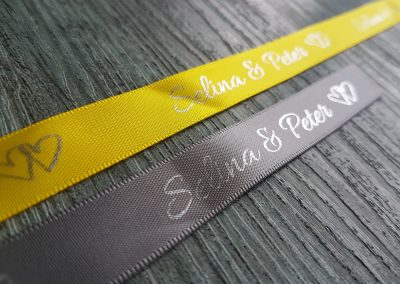 Wedding ribbons, custom printed
