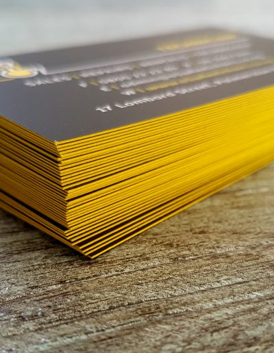 Bright yellow sides on 350 gsm white business cards
